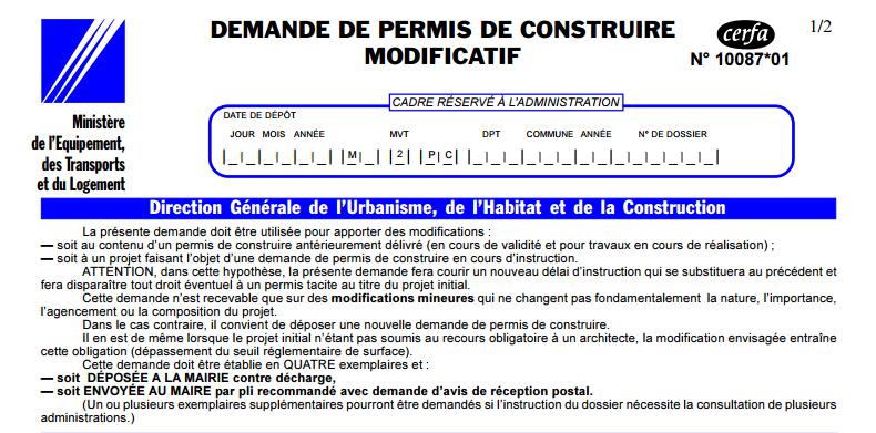 reglementation permis de construire modificatif